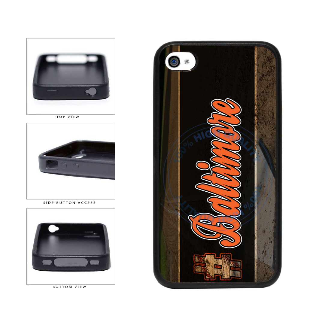 Hashtag Baltimore #Baltimore Baseball Team  TPU Rubber SILICONE Phone Case Back Cover For Apple iPhone 4 4S includes BleuReign(TM) Cloth and Warranty Label