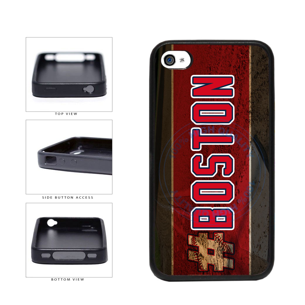 Hashtag Boston #Boston Baseball Team  TPU Rubber SILICONE Phone Case Back Cover For Apple iPhone 4 4S includes BleuReign(TM) Cloth and Warranty Label