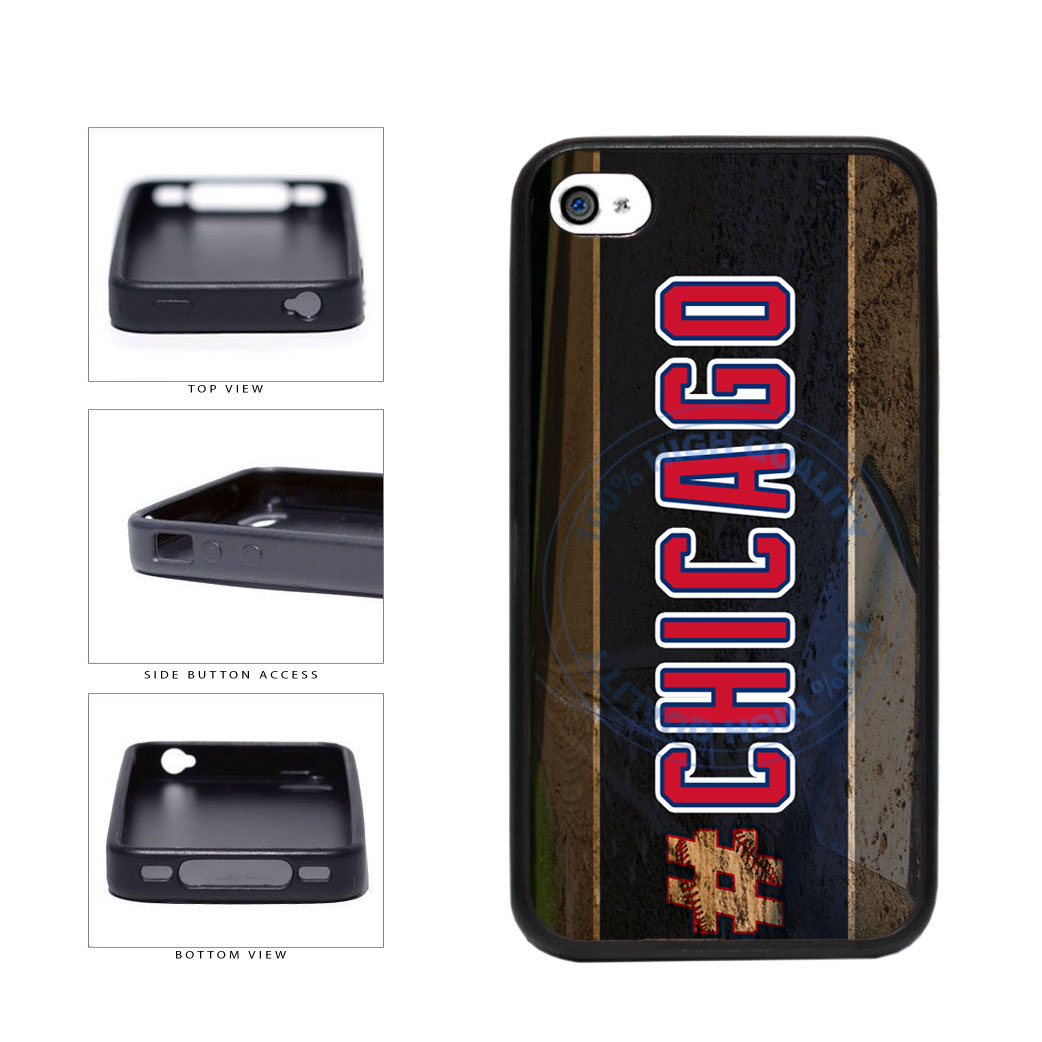 Hashtag Chicago #Chicago Blue and Red Baseball Team  TPU Rubber SILICONE Phone Case Back Cover For Apple iPhone 4 4S includes BleuReign(TM) Cloth and Warranty Label
