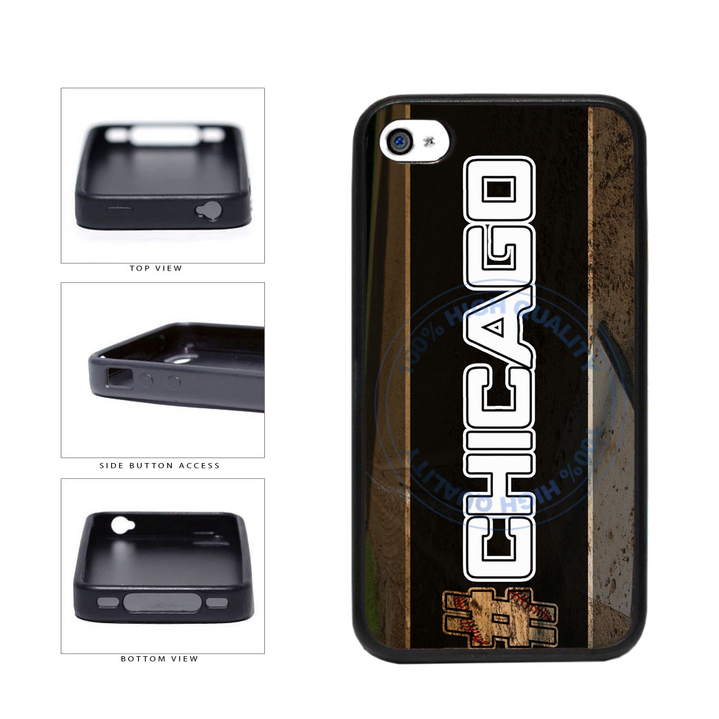 Hashtag Chicago #Chicago White Baseball Team  TPU Rubber SILICONE Phone Case Back Cover For Apple iPhone 4 4S includes BleuReign(TM) Cloth and Warranty Label