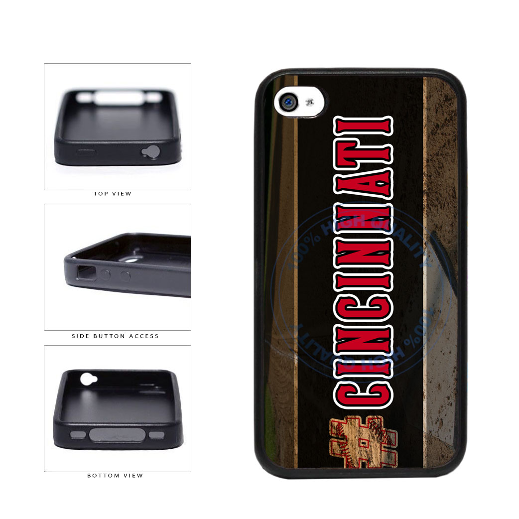 Hashtag Cincinnati #Cincinnati Baseball Team  TPU Rubber SILICONE Phone Case Back Cover For Apple iPhone 4 4S includes BleuReign(TM) Cloth and Warranty Label