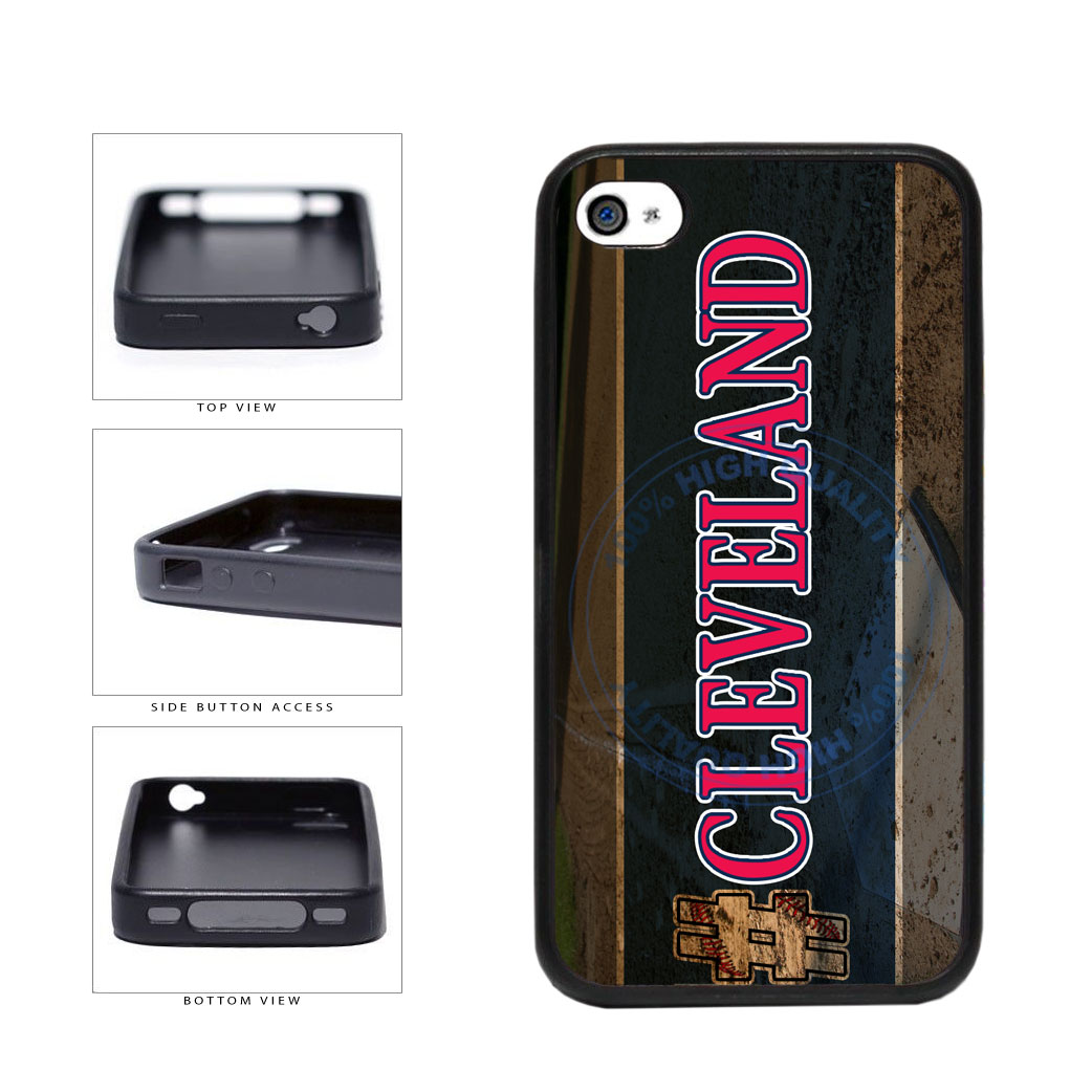 Hashtag Cleveland #Cleveland Baseball Team  TPU Rubber SILICONE Phone Case Back Cover For Apple iPhone 4 4S includes BleuReign(TM) Cloth and Warranty Label