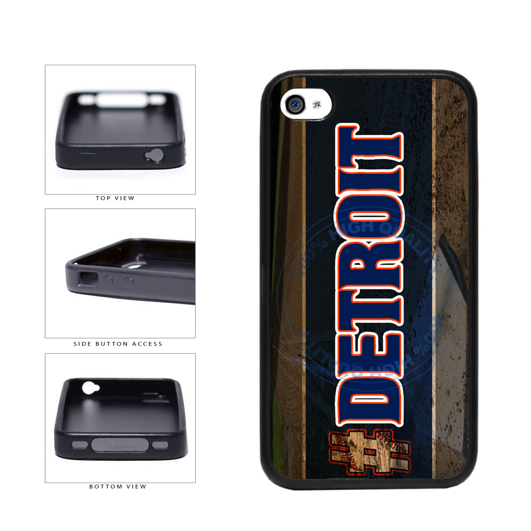 Hashtag Detroit #Detroit Baseball Team  TPU Rubber SILICONE Phone Case Back Cover For Apple iPhone 4 4S includes BleuReign(TM) Cloth and Warranty Label