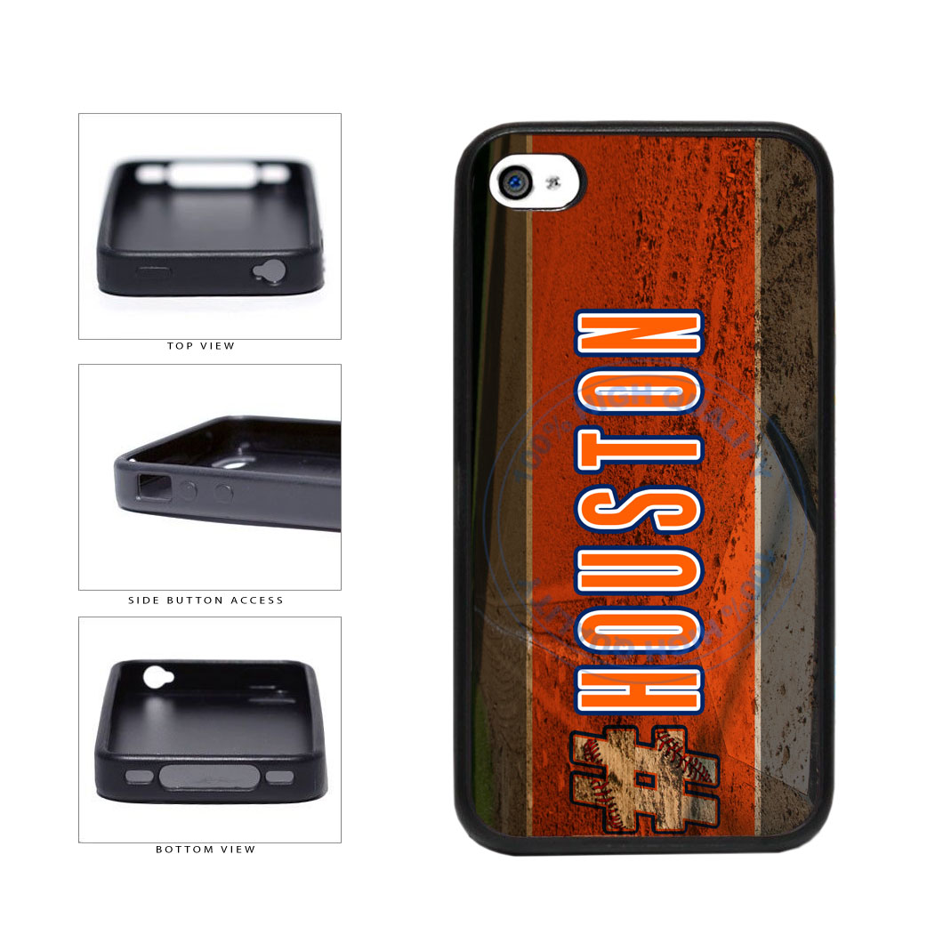 Hashtag Houston #Houston Baseball Team  TPU Rubber SILICONE Phone Case Back Cover For Apple iPhone 4 4S includes BleuReign(TM) Cloth and Warranty Label