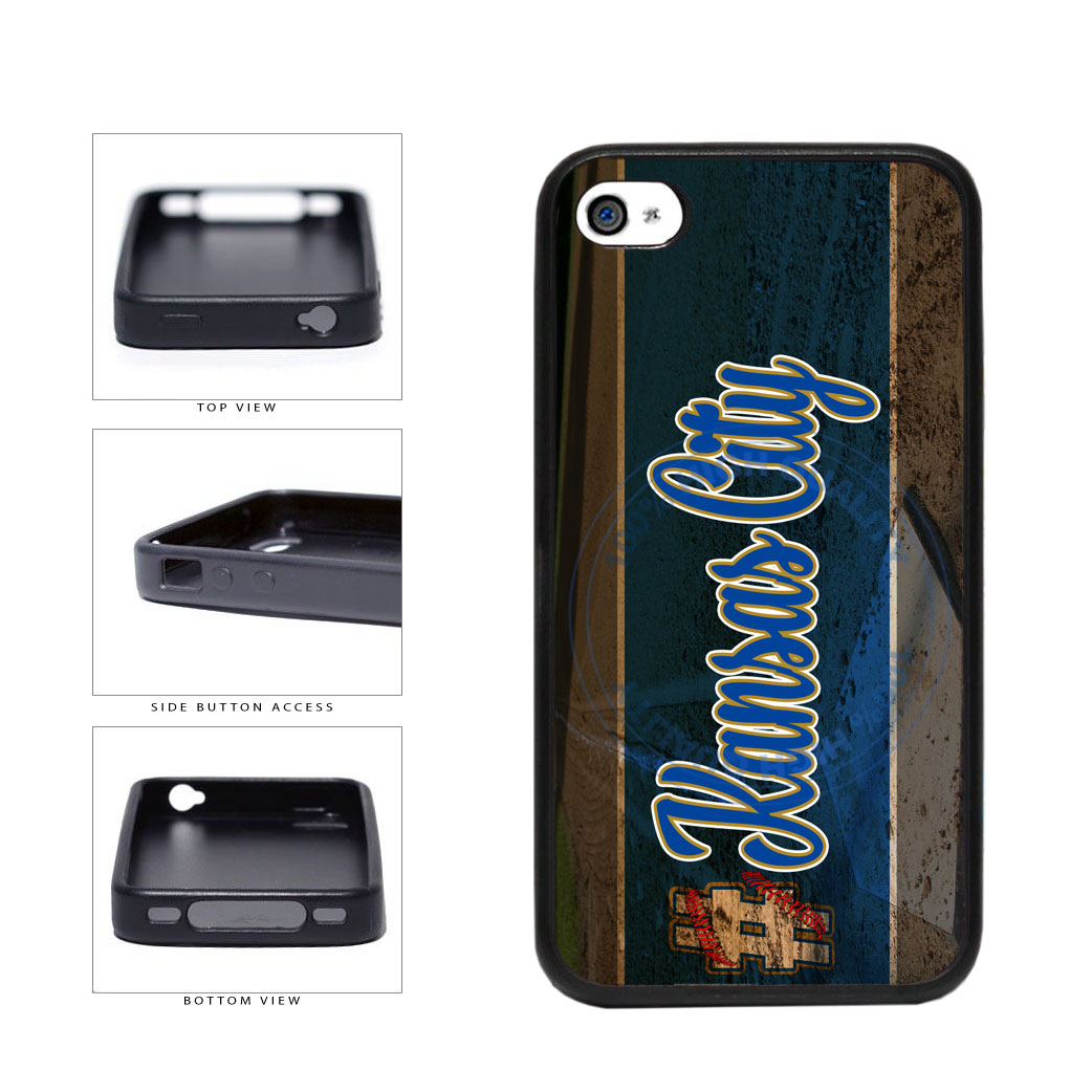 Hashtag Kansas City #KansasCity Baseball Team  TPU Rubber SILICONE Phone Case Back Cover For Apple iPhone 4 4S includes BleuReign(TM) Cloth and Warranty Label