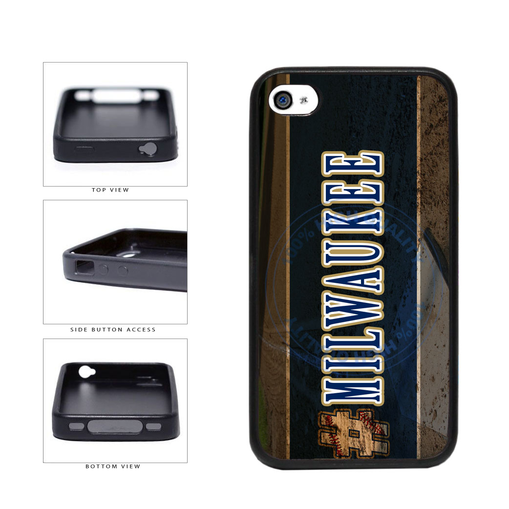 Hashtag Milwaukee #Milwaukee Baseball Team  TPU Rubber SILICONE Phone Case Back Cover For Apple iPhone 4 4S includes BleuReign(TM) Cloth and Warranty Label