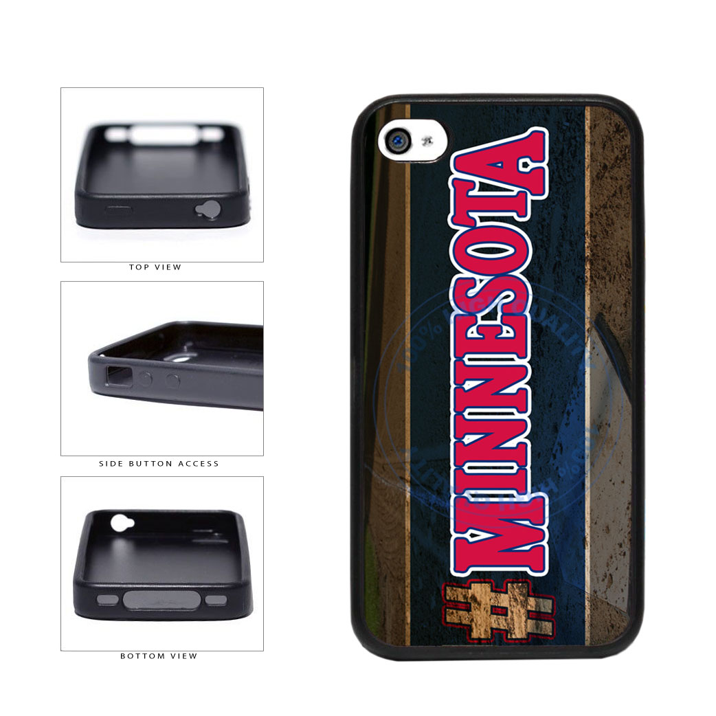 Hashtag Minnesota #Minnesota Baseball Team  TPU Rubber SILICONE Phone Case Back Cover For Apple iPhone 4 4S includes BleuReign(TM) Cloth and Warranty Label