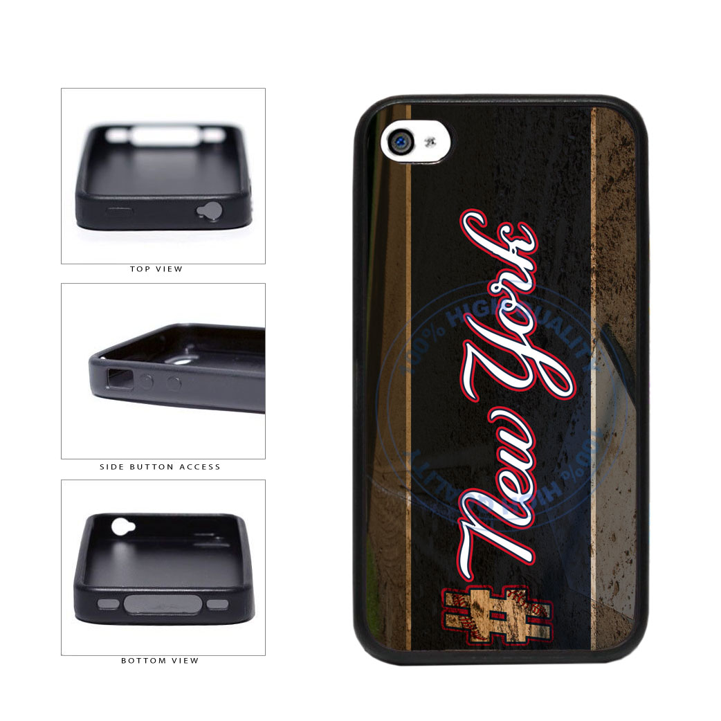 Hashtag New York #NewYork Blue Baseball Team  TPU Rubber SILICONE Phone Case Back Cover For Apple iPhone 4 4S includes BleuReign(TM) Cloth and Warranty Label