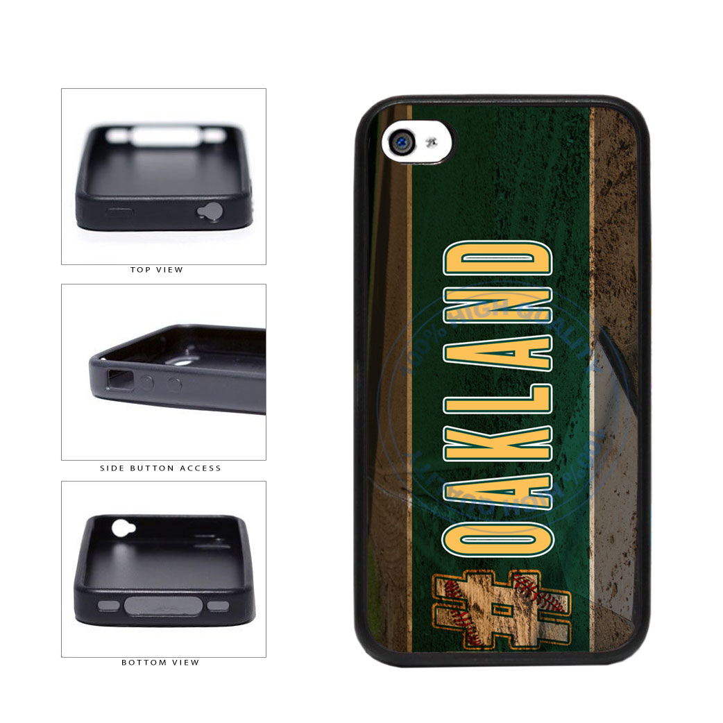 Hashtag Oakland #Oakland Baseball Team  TPU Rubber SILICONE Phone Case Back Cover For Apple iPhone 4 4S includes BleuReign(TM) Cloth and Warranty Label