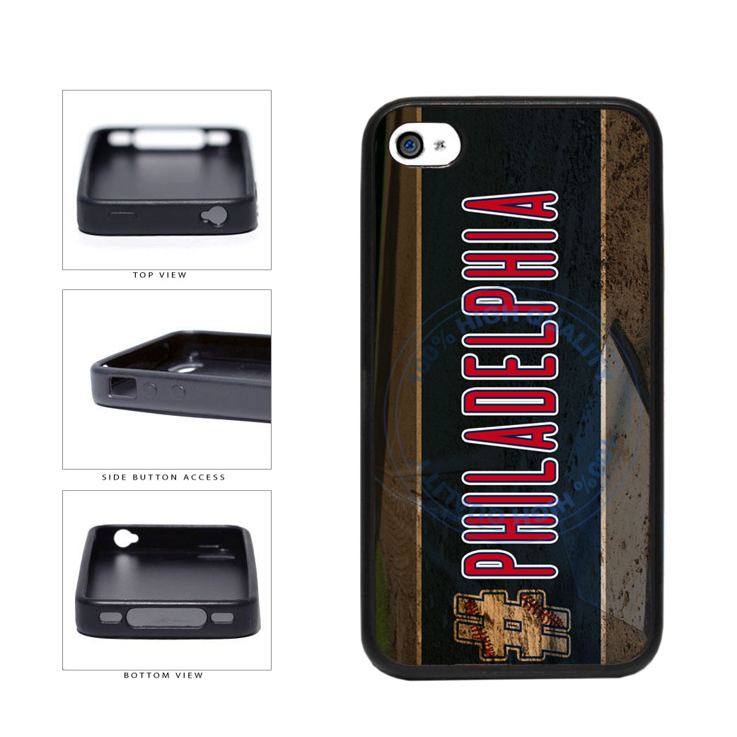 Hashtag Philadelphia #Philadelphia Baseball Team  TPU Rubber SILICONE Phone Case Back Cover For Apple iPhone 4 4S includes BleuReign(TM) Cloth and Warranty Label