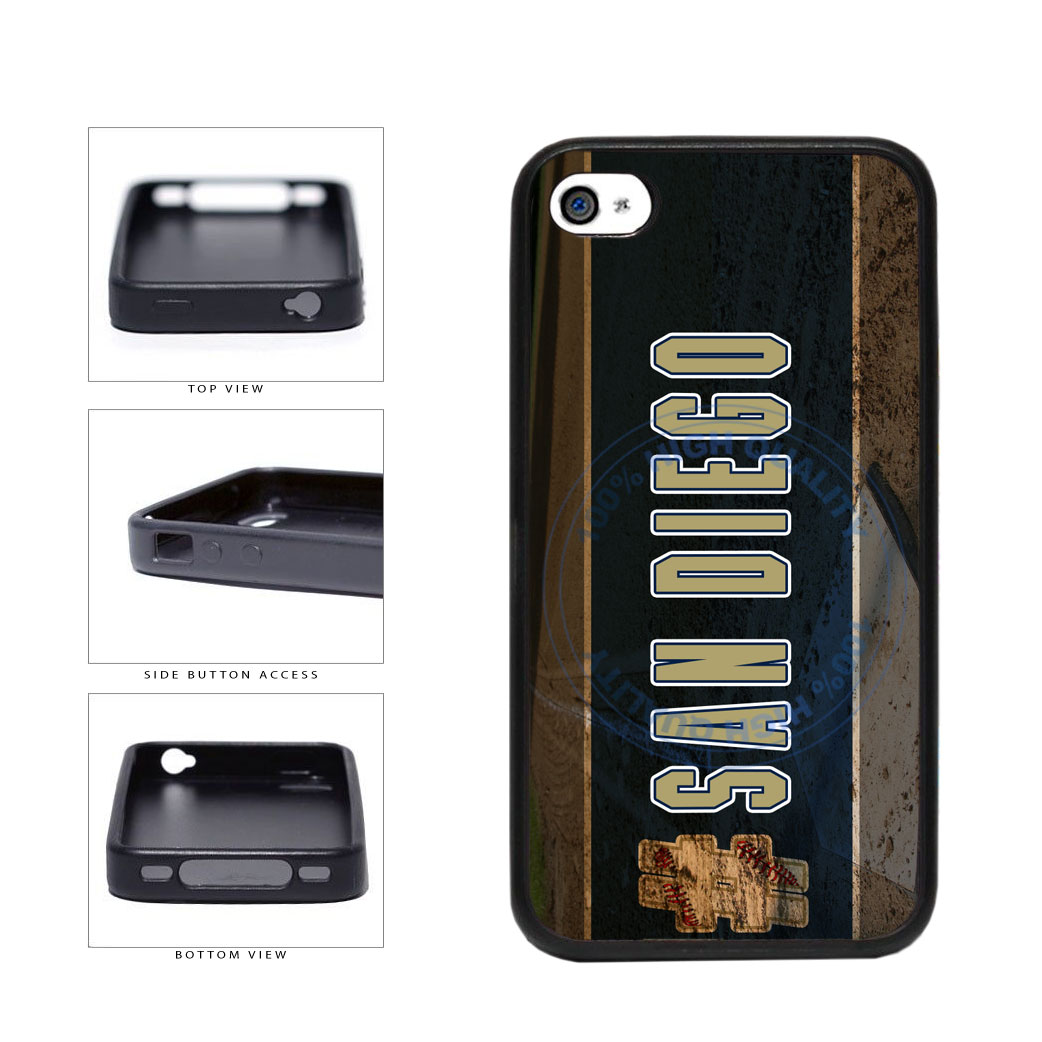 Hashtag San Diego #SanDiego Baseball Team  TPU Rubber SILICONE Phone Case Back Cover For Apple iPhone 4 4S includes BleuReign(TM) Cloth and Warranty Label