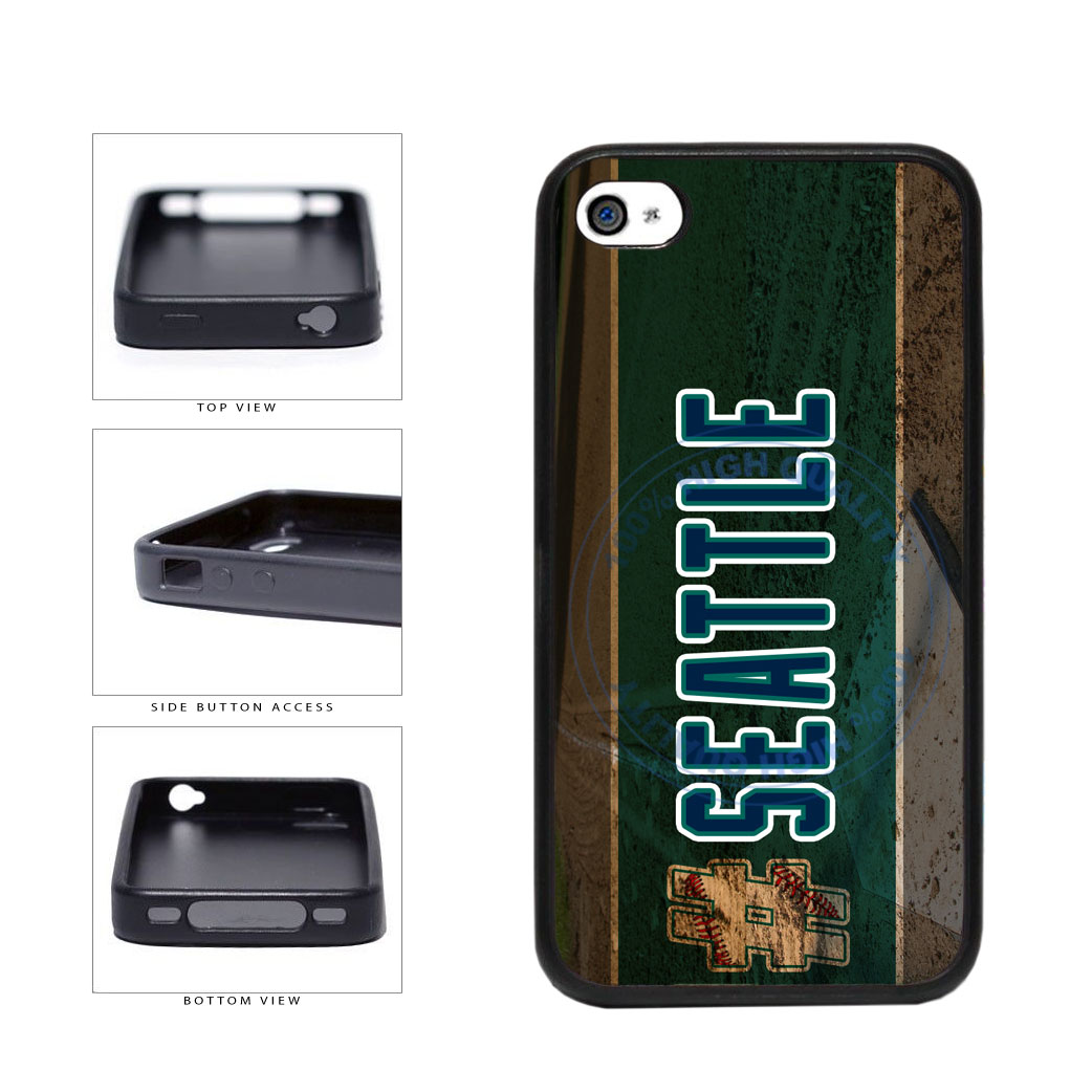 Hashtag Seattle #Seattle Baseball Team  TPU Rubber SILICONE Phone Case Back Cover For Apple iPhone 4 4S includes BleuReign(TM) Cloth and Warranty Label