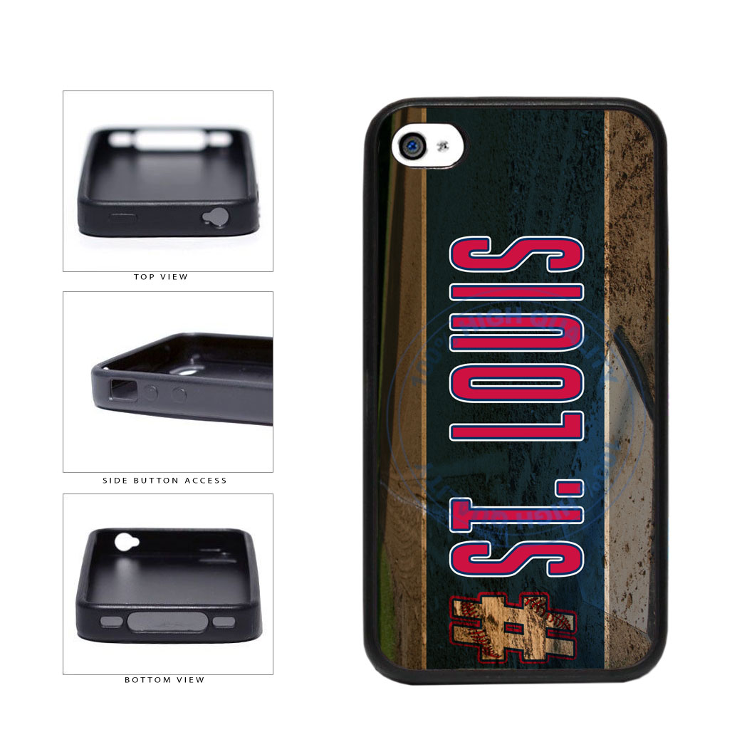 Hashtag St Louis #StLouis Baseball Team TPU Rubber SILICONE Phone Case Back Cover For Apple iPhone 4 4S includes BleuReign(TM) Cloth and Warranty Label