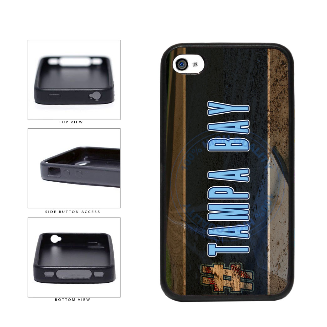 Hashtag Tampa Bay #TampaBay Baseball Team  TPU Rubber SILICONE Phone Case Back Cover For Apple iPhone 4 4S includes BleuReign(TM) Cloth and Warranty Label