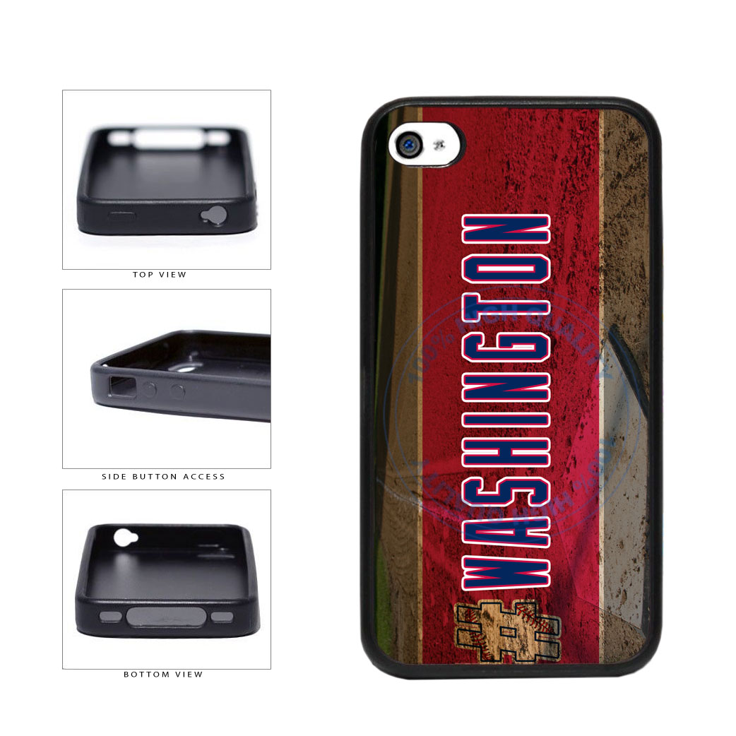 Hashtag Washington #Washington Baseball Team  TPU Rubber SILICONE Phone Case Back Cover For Apple iPhone 4 4S includes BleuReign(TM) Cloth and Warranty Label
