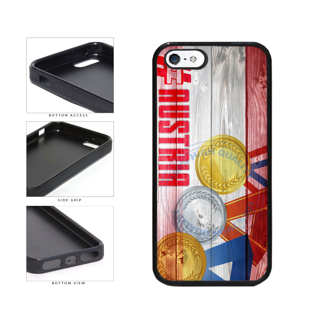 Sport Games Hashtag Team Austria #Austria TPU Rubber SILICONE Phone Case Back Cover For Apple iPhone 5 5S includes BleuReign(TM) Cloth and Warranty Label