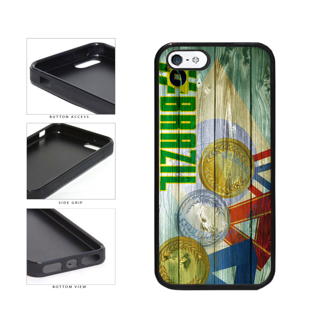 Sport Games Hashtag Team Brazil #Brazil TPU Rubber SILICONE Phone Case Back Cover For Apple iPhone 5 5S includes BleuReign(TM) Cloth and Warranty Label