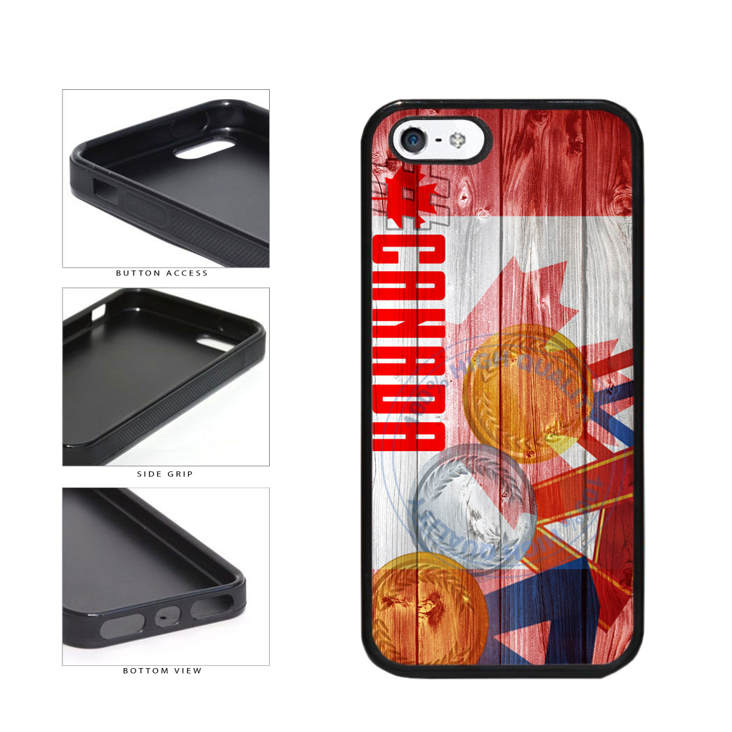 Sport Games Hashtag Team Canada #Canada TPU Rubber SILICONE Phone Case Back Cover For Apple iPhone 5 5S includes BleuReign(TM) Cloth and Warranty Label