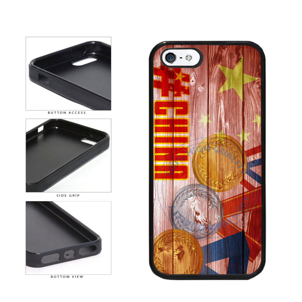 Sport Games Hashtag Team China #China TPU Rubber SILICONE Phone Case Back Cover For Apple iPhone 5 5S includes BleuReign(TM) Cloth and Warranty Label