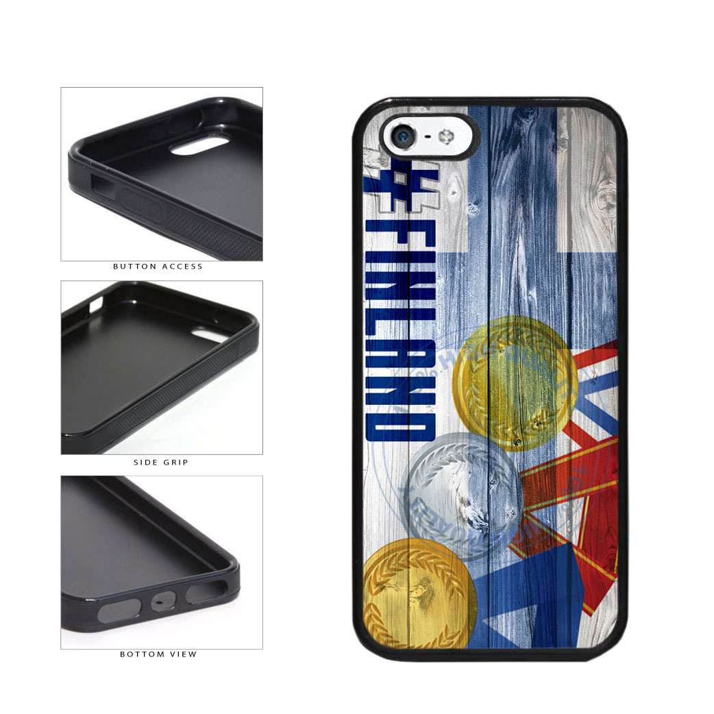 Sport Games Hashtag Team Finland #Finland TPU Rubber SILICONE Phone Case Back Cover For Apple iPhone 5 5S includes BleuReign(TM) Cloth and Warranty Label