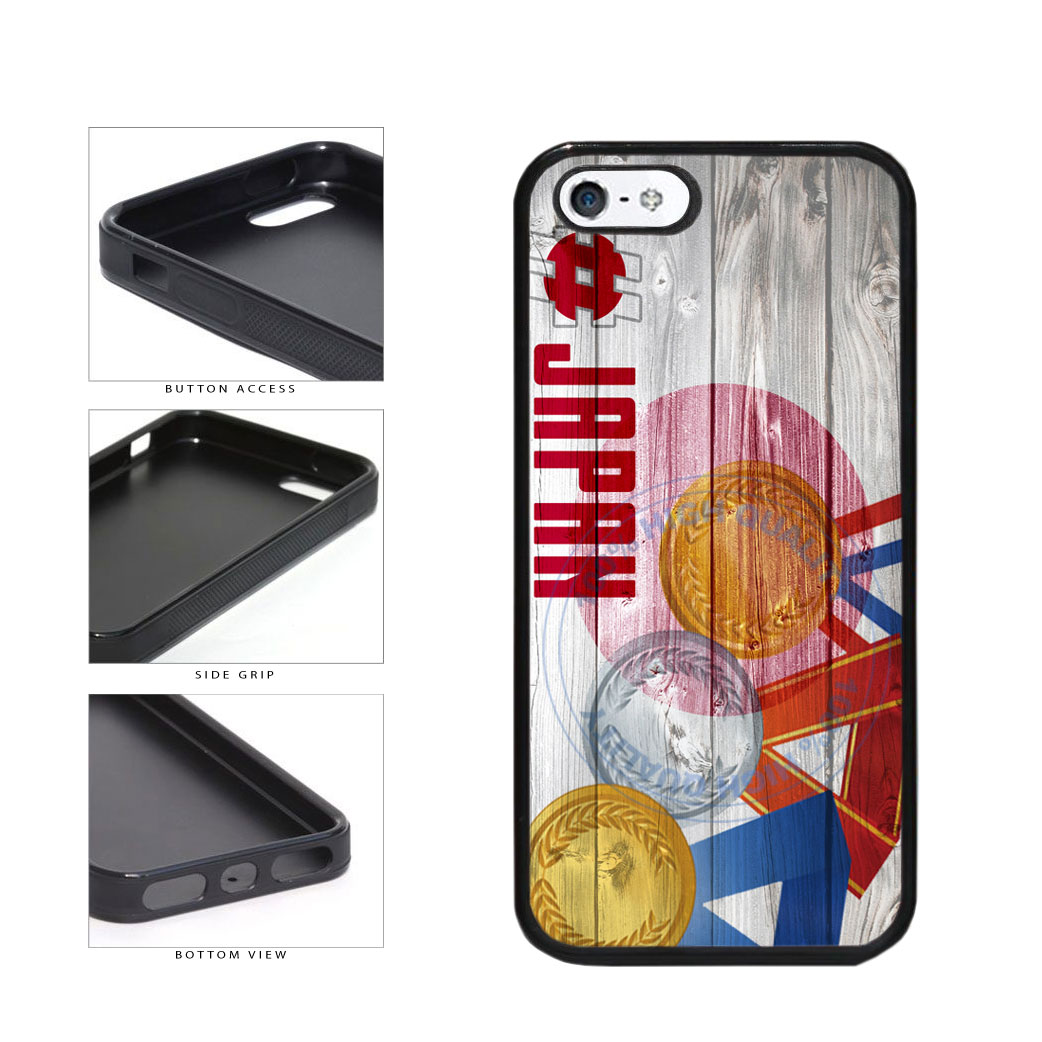Sport Games Hashtag Team Japan #Japan TPU Rubber SILICONE Phone Case Back Cover For Apple iPhone 5 5S includes BleuReign(TM) Cloth and Warranty Label