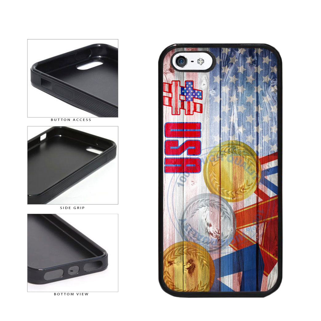 Sport Games Hashtag Team USA #USA TPU Rubber SILICONE Phone Case Back Cover For Apple iPhone 5 5S includes BleuReign(TM) Cloth and Warranty Label