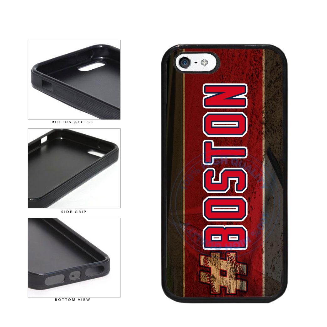 Hashtag Boston #Boston Baseball Team  TPU Rubber SILICONE Phone Case Back Cover For Apple iPhone 5 5S includes BleuReign(TM) Cloth and Warranty Label