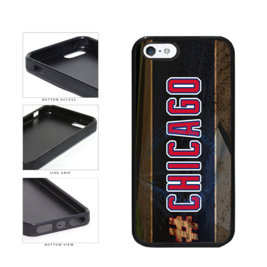 Hashtag Chicago #Chicago Blue and Red Baseball Team  TPU Rubber SILICONE Phone Case Back Cover For Apple iPhone 5 5S includes BleuReign(TM) Cloth and Warranty Label