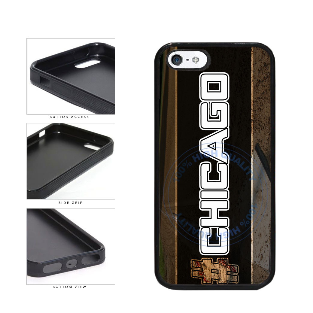 Hashtag Chicago #Chicago White Baseball Team  TPU Rubber SILICONE Phone Case Back Cover For Apple iPhone 5 5S includes BleuReign(TM) Cloth and Warranty Label
