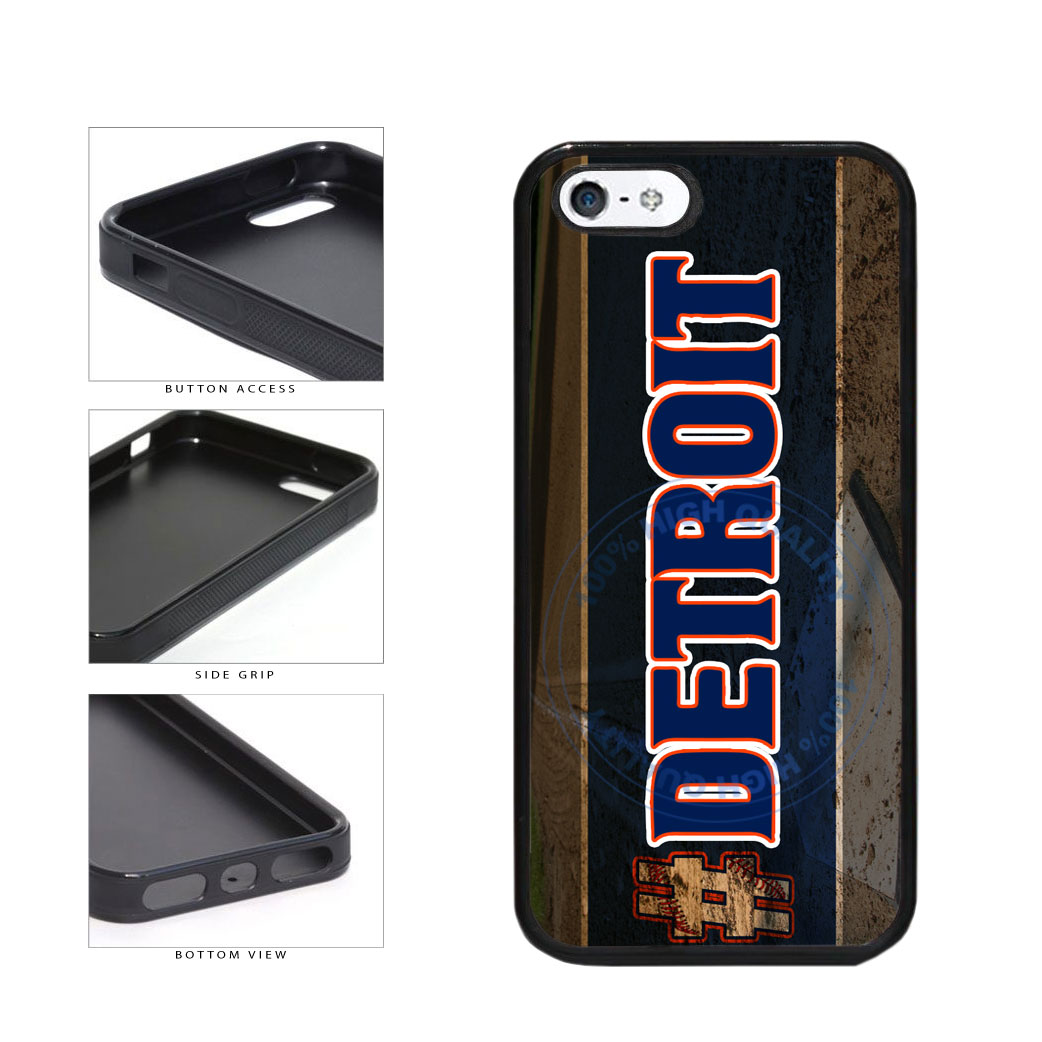 Hashtag Detroit #Detroit Baseball Team  TPU Rubber SILICONE Phone Case Back Cover For Apple iPhone 5 5S includes BleuReign(TM) Cloth and Warranty Label