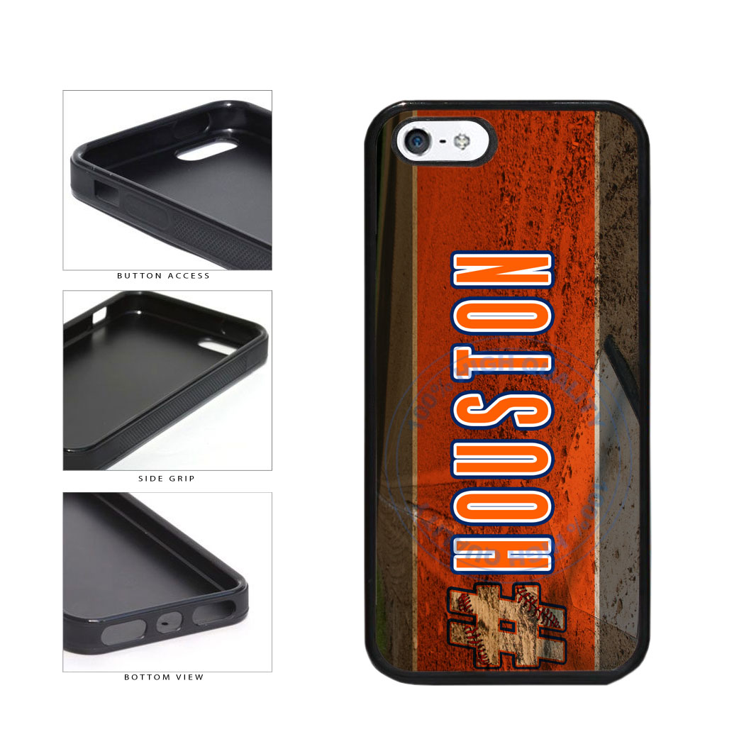 Hashtag Houston #Houston Baseball Team  TPU Rubber SILICONE Phone Case Back Cover For Apple iPhone 5 5S includes BleuReign(TM) Cloth and Warranty Label