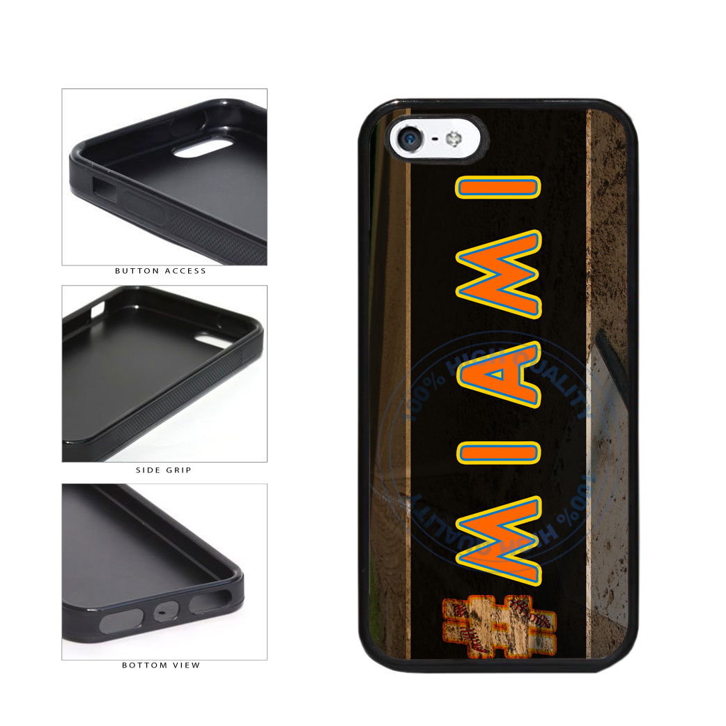 Hashtag Miami #Miami Baseball Team  TPU Rubber SILICONE Phone Case Back Cover For Apple iPhone 5 5S includes BleuReign(TM) Cloth and Warranty Label