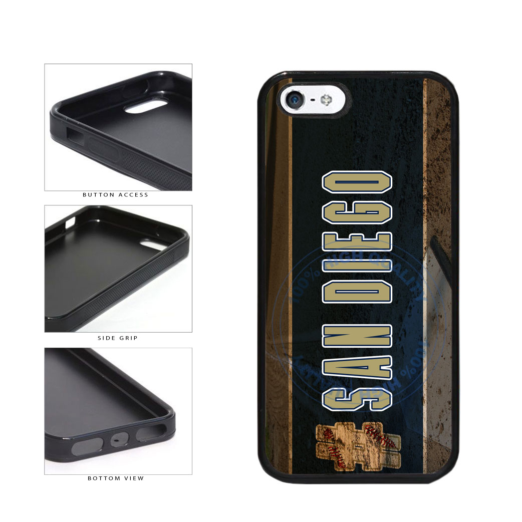 Hashtag San Diego #SanDiego Baseball Team  TPU Rubber SILICONE Phone Case Back Cover For Apple iPhone 5 5S includes BleuReign(TM) Cloth and Warranty Label