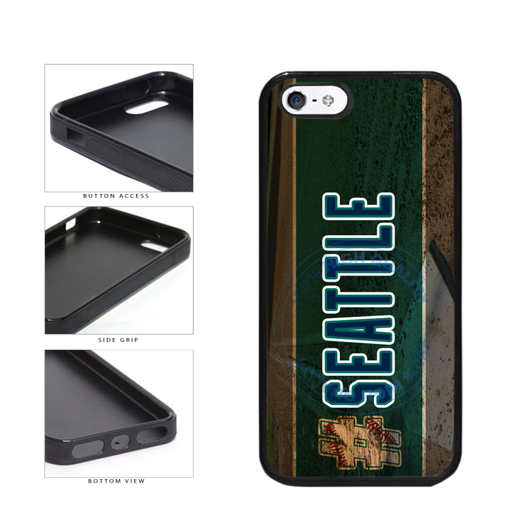 Hashtag Seattle #Seattle Baseball Team  TPU Rubber SILICONE Phone Case Back Cover For Apple iPhone 5 5S includes BleuReign(TM) Cloth and Warranty Label