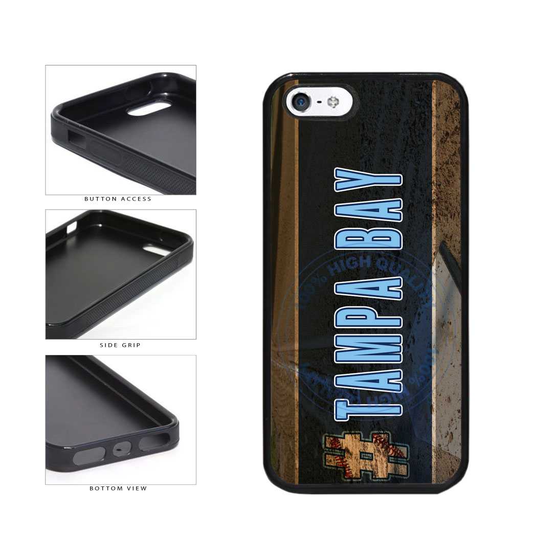 Hashtag Tampa Bay #TampaBay Baseball Team  TPU Rubber SILICONE Phone Case Back Cover For Apple iPhone 5 5S includes BleuReign(TM) Cloth and Warranty Label