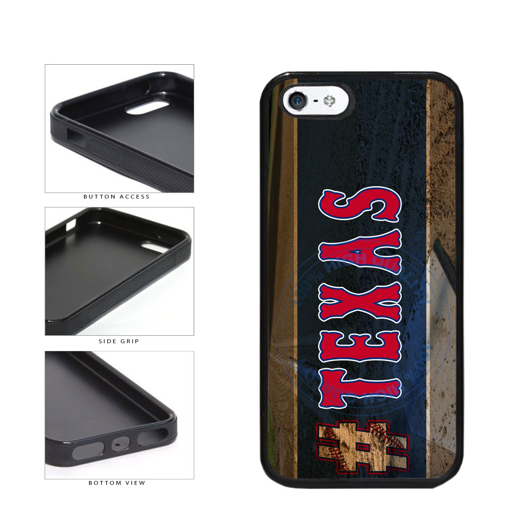 Hashtag Texas #Texas Baseball Team  TPU Rubber SILICONE Phone Case Back Cover For Apple iPhone 5 5S includes BleuReign(TM) Cloth and Warranty Label