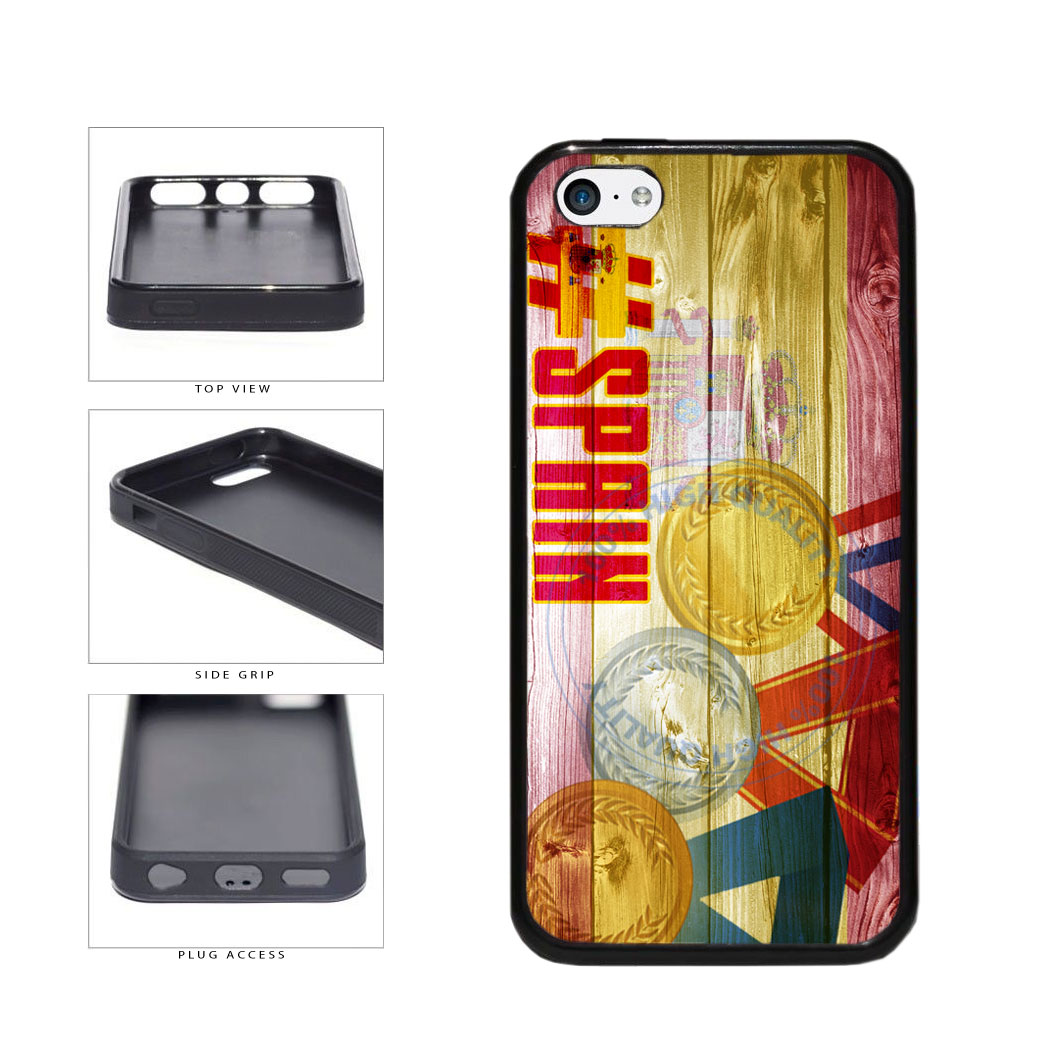 Sport Games Hashtag Team Spain #Spain TPU Rubber SILICONE Phone Case Back Cover For Apple iPhone 5c includes BleuReign(TM) Cloth and Warranty Label