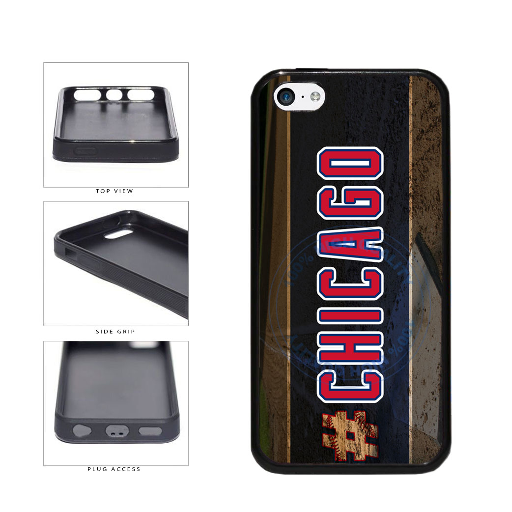 Hashtag Chicago #Chicago Blue and Red Baseball Team  TPU Rubber SILICONE Phone Case Back Cover For Apple iPhone 5c includes BleuReign(TM) Cloth and Warranty Label