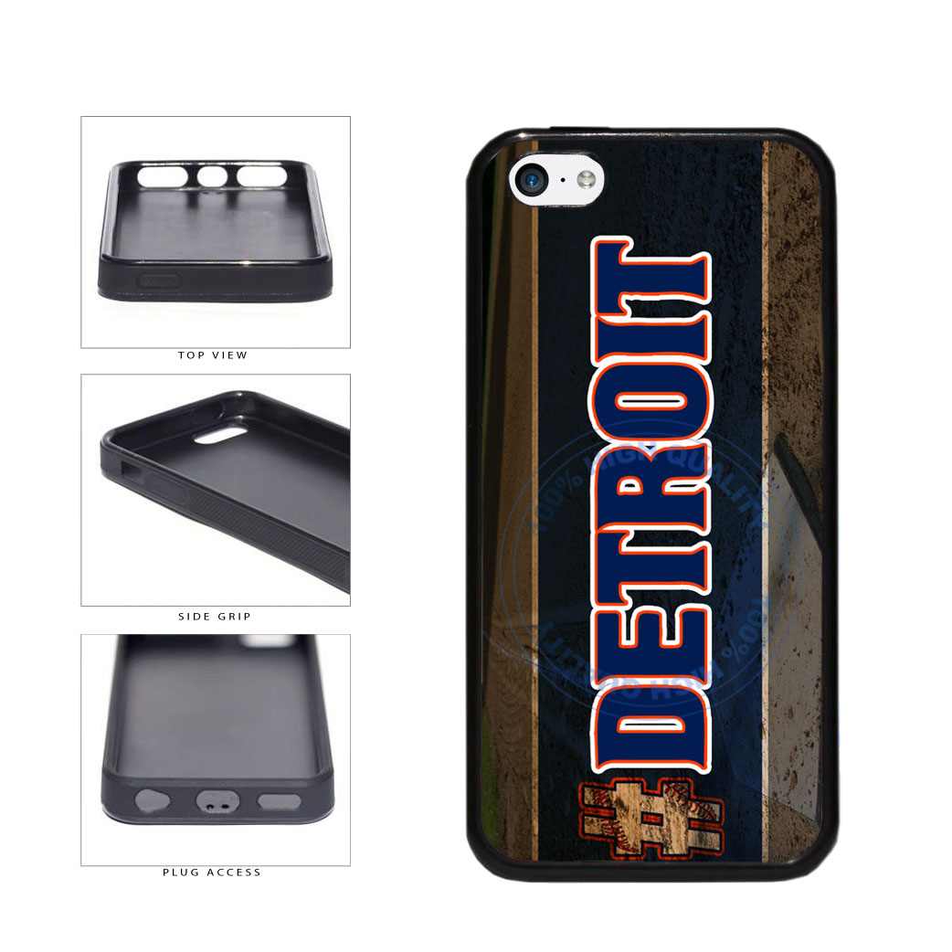Hashtag Detroit #Detroit Baseball Team  TPU Rubber SILICONE Phone Case Back Cover For Apple iPhone 5c includes BleuReign(TM) Cloth and Warranty Label