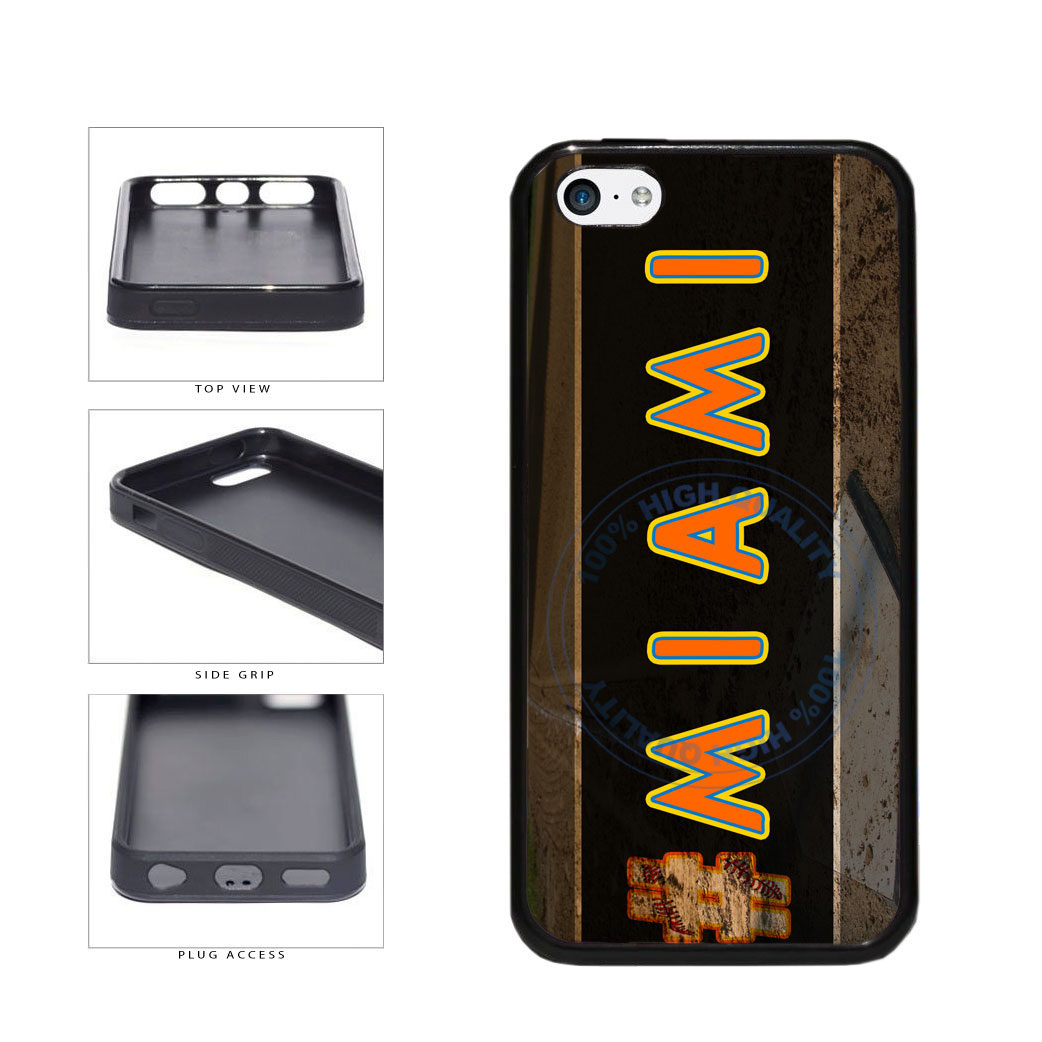 Hashtag Miami #Miami Baseball Team  TPU Rubber SILICONE Phone Case Back Cover For Apple iPhone 5c includes BleuReign(TM) Cloth and Warranty Label