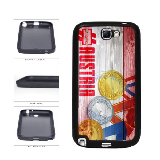 Sport Games Hashtag Team Austria #Austria TPU Rubber SILICONE Phone Case Back Cover For Samsung Galaxy Note II 2 N7100 includes BleuReign(TM) Cloth and Warranty Label