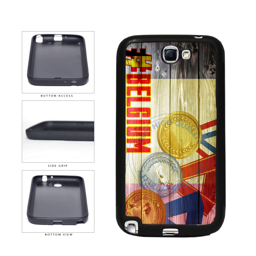 Sport Games Hashtag Team Belgium #Belgium TPU Rubber SILICONE Phone Case Back Cover For Samsung Galaxy Note II 2 N7100 includes BleuReign(TM) Cloth and Warranty Label