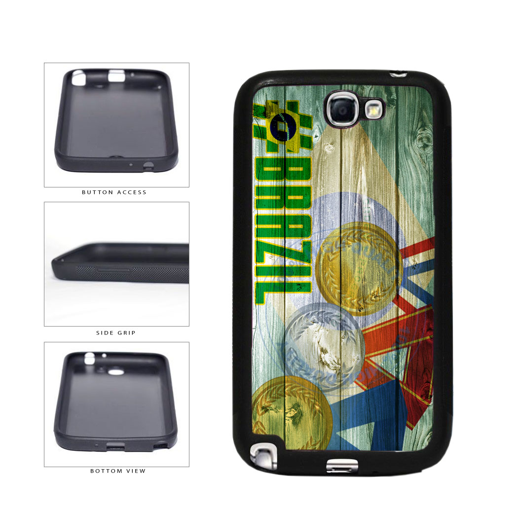 Sport Games Hashtag Team Brazil #Brazil TPU Rubber SILICONE Phone Case Back Cover For Samsung Galaxy Note II 2 N7100 includes BleuReign(TM) Cloth and Warranty Label