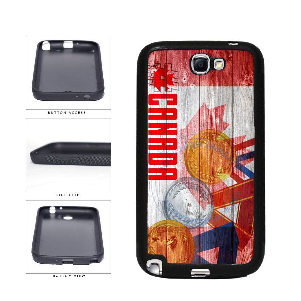 Sport Games Hashtag Team Canada #Canada TPU Rubber SILICONE Phone Case Back Cover For Samsung Galaxy Note II 2 N7100 includes BleuReign(TM) Cloth and Warranty Label