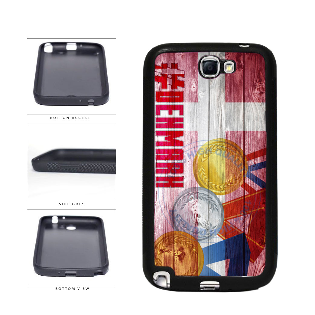 Sport Games Hashtag Team Denmark #Denmark TPU Rubber SILICONE Phone Case Back Cover For Samsung Galaxy Note II 2 N7100 includes BleuReign(TM) Cloth and Warranty Label