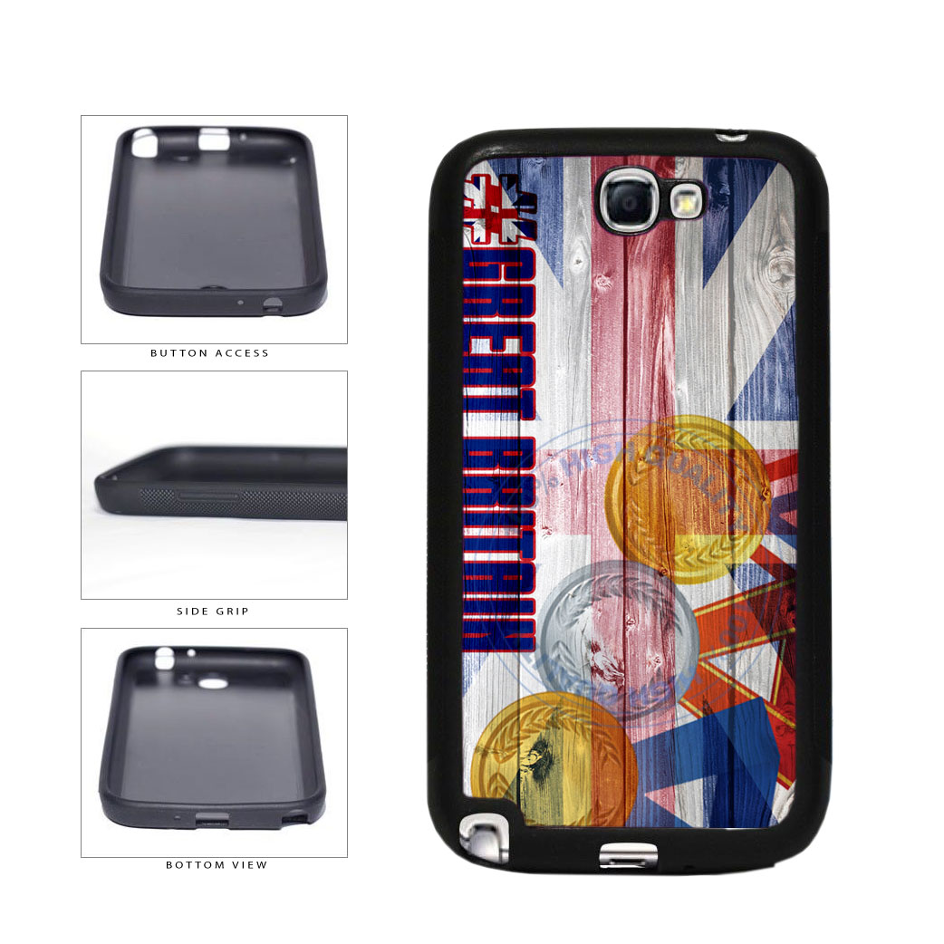 Sport Games Hashtag Team Great Britain #GreatBritain TPU Rubber SILICONE Phone Case Back Cover For Samsung Galaxy Note II 2 N7100 includes BleuReign(TM) Cloth and Warranty Label