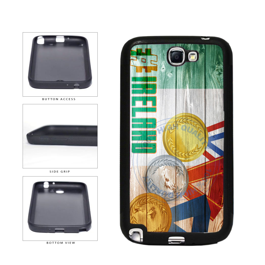 Sport Games Hashtag Team Ireland #Ireland TPU Rubber SILICONE Phone Case Back Cover For Samsung Galaxy Note II 2 N7100 includes BleuReign(TM) Cloth and Warranty Label