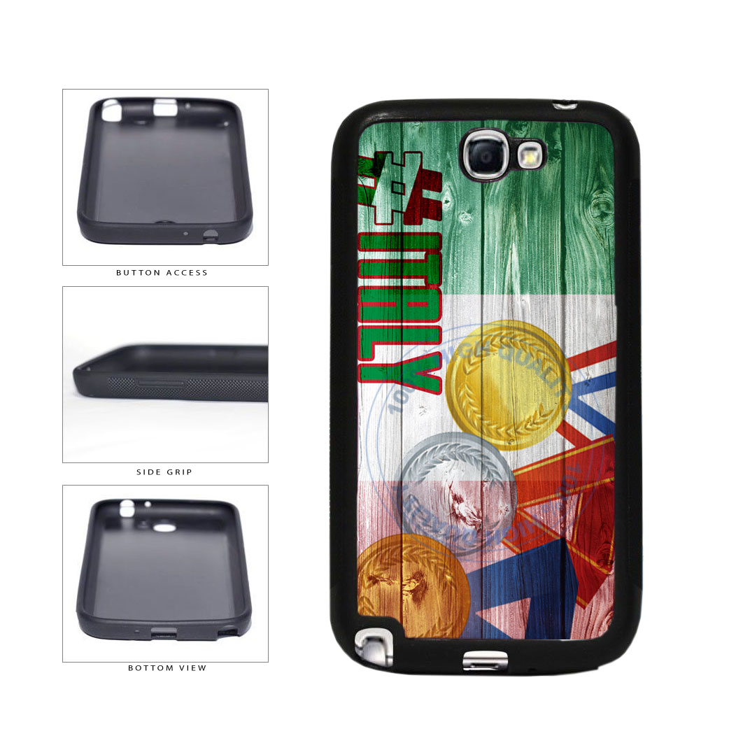 Sport Games Hashtag Team Italy #Italy TPU Rubber SILICONE Phone Case Back Cover For Samsung Galaxy Note II 2 N7100 includes BleuReign(TM) Cloth and Warranty Label