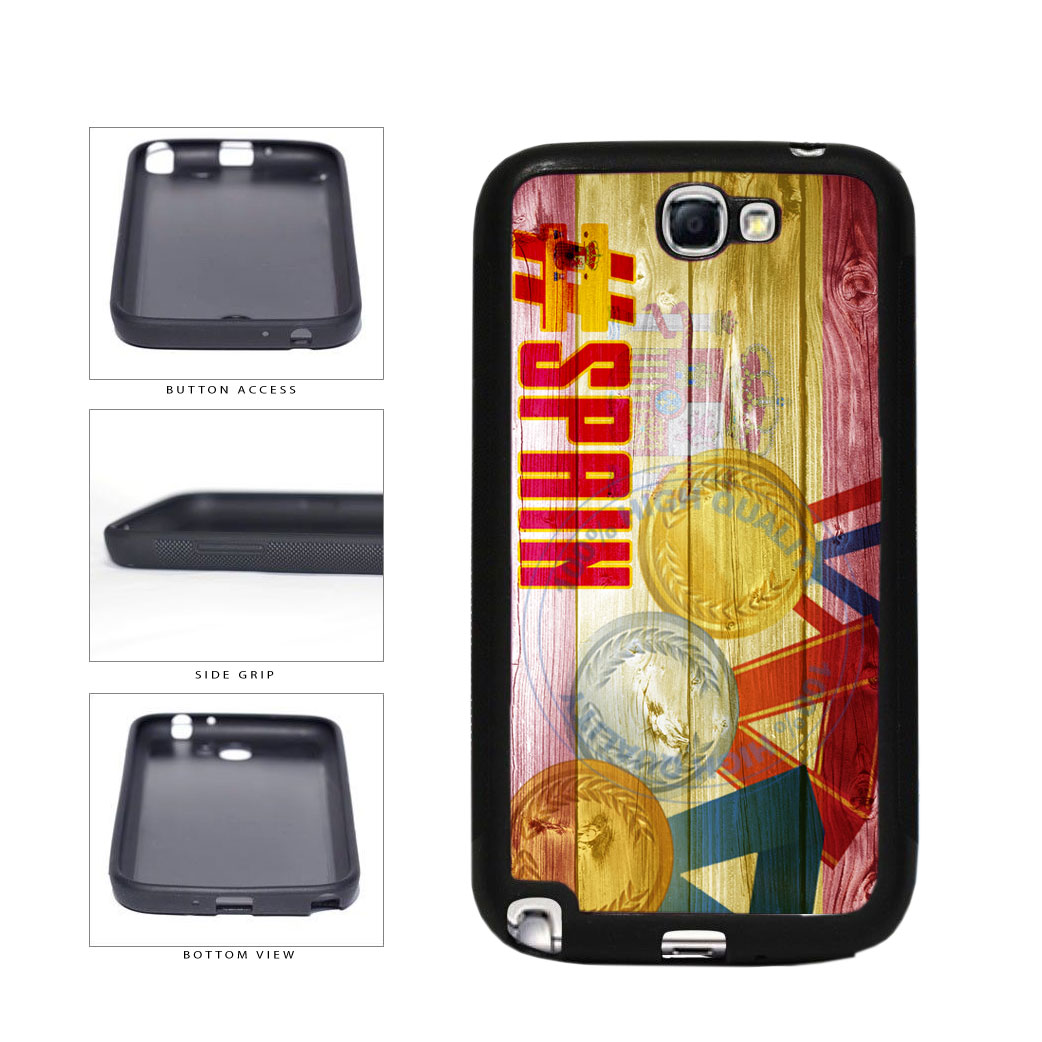 Sport Games Hashtag Team Spain #Spain TPU Rubber SILICONE Phone Case Back Cover For Samsung Galaxy Note II 2 N7100 includes BleuReign(TM) Cloth and Warranty Label