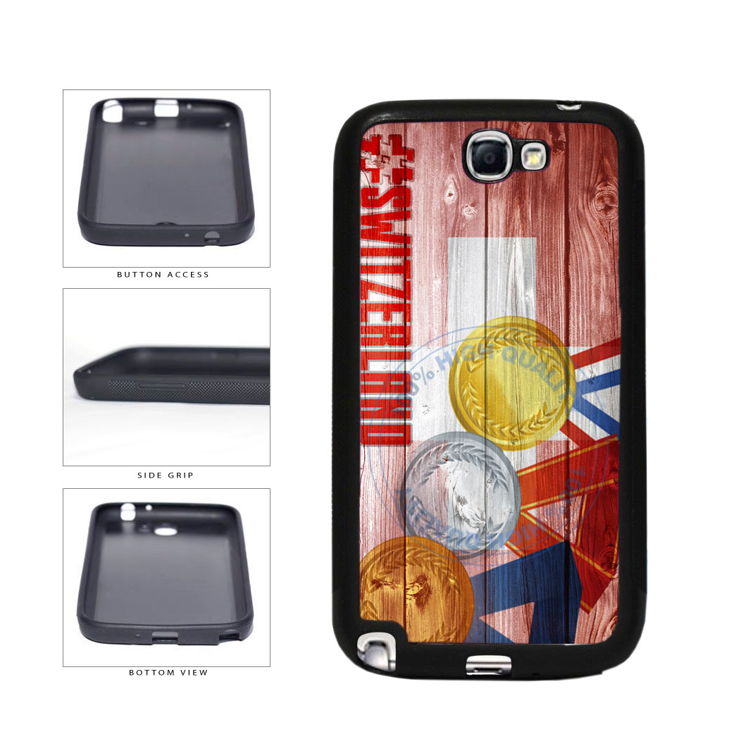 Sport Games Hashtag Team Switzerland #Switzerland TPU Rubber SILICONE Phone Case Back Cover For Samsung Galaxy Note II 2 N7100 includes BleuReign(TM) Cloth and Warranty Label